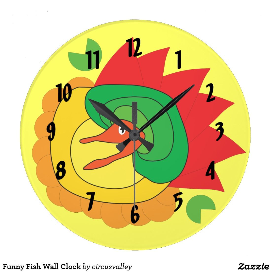 Funny fish wall clock weird wall clocks on zazzle pinterest funny fish wall clock amipublicfo Images