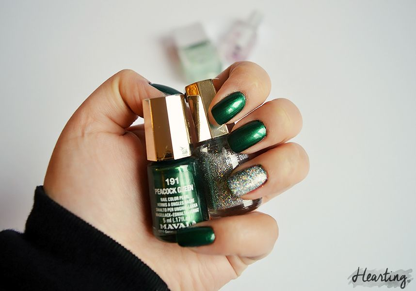 Nails #60 featuring Mavala Peacock Green and Mavala Pure Diamond