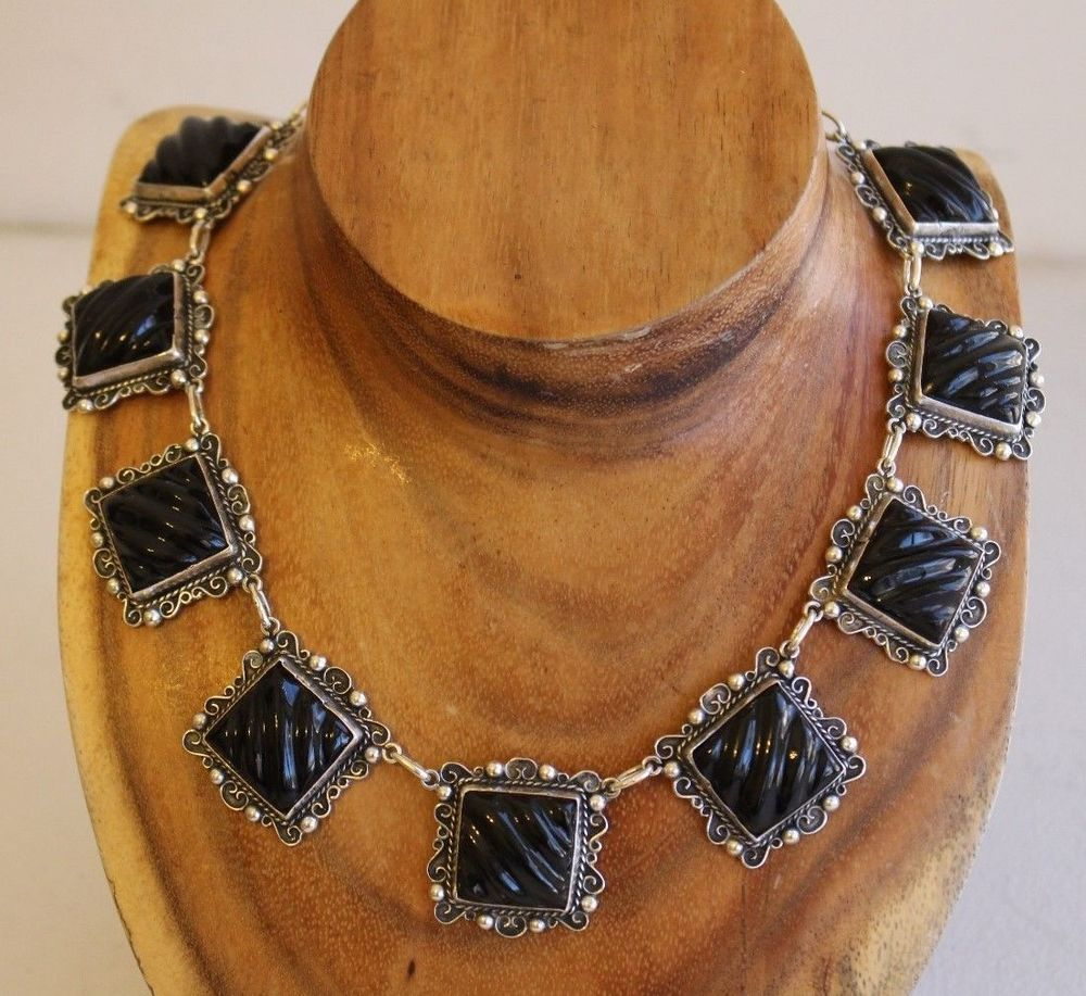 Pre 1948 Mexico Sterling Silver Black Onyx Art Deco 17 5 Inch Necklace 102 Grms Necklace Antique Jewelry Jewelry