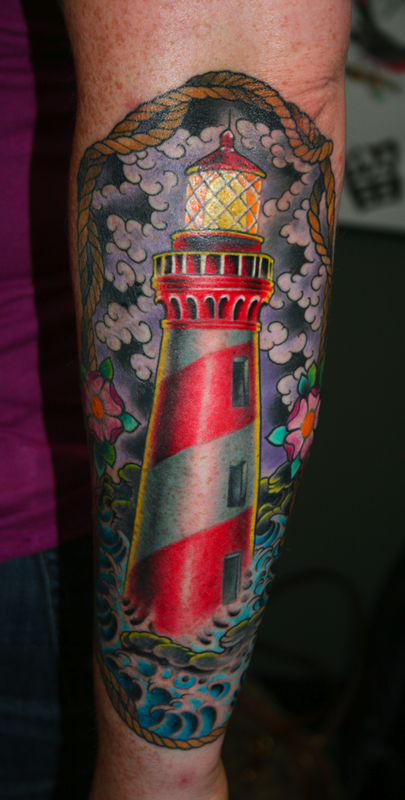 lighthouse surrounded by flowers tattoo by jim miner tattoos pinterest tattoo. Black Bedroom Furniture Sets. Home Design Ideas