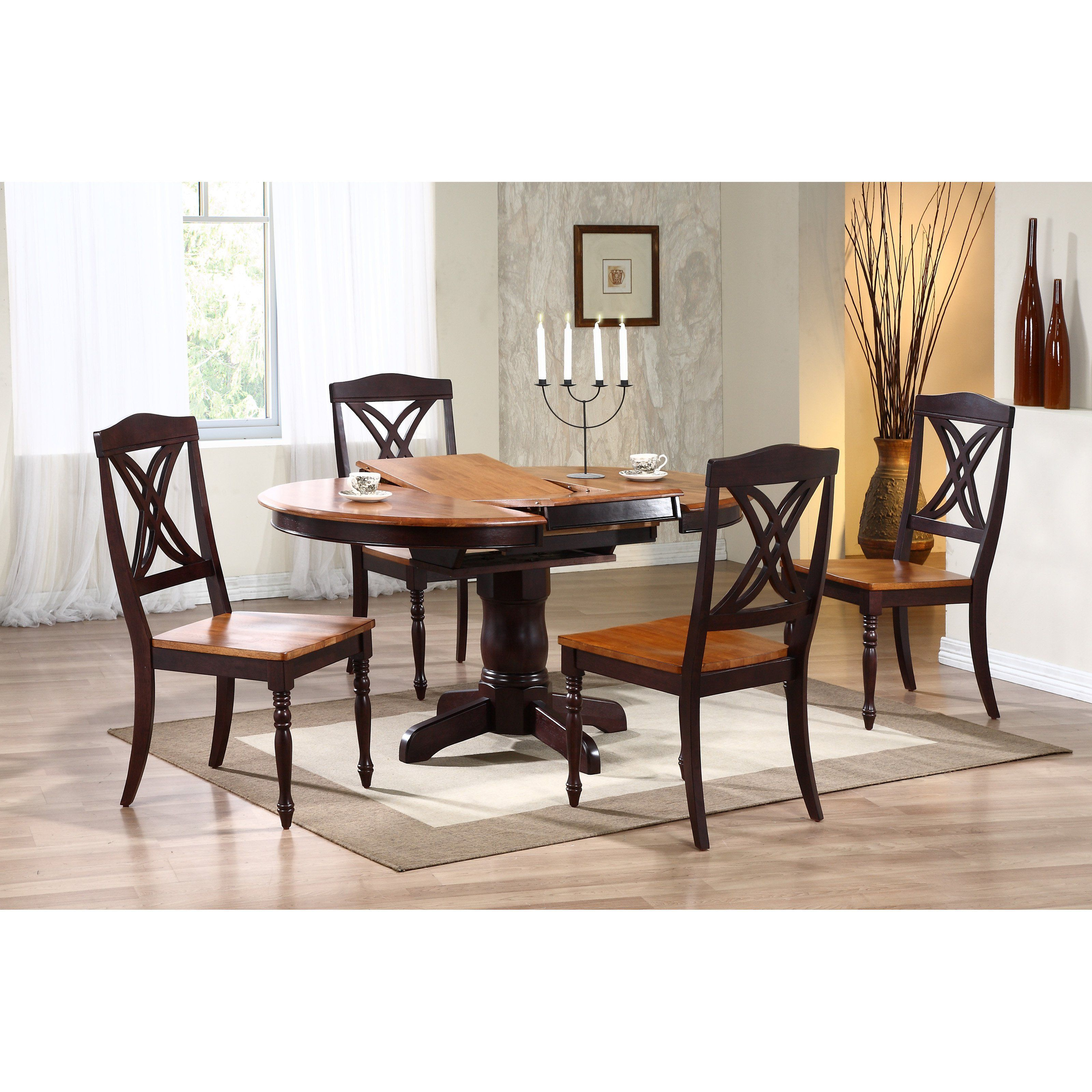Iconic Furniture 5 Piece Oval Dining Table Set Whiskey Mocha