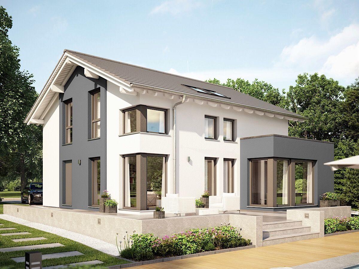 Modernes Fertighaus mit Satteldach Architektur, Erker