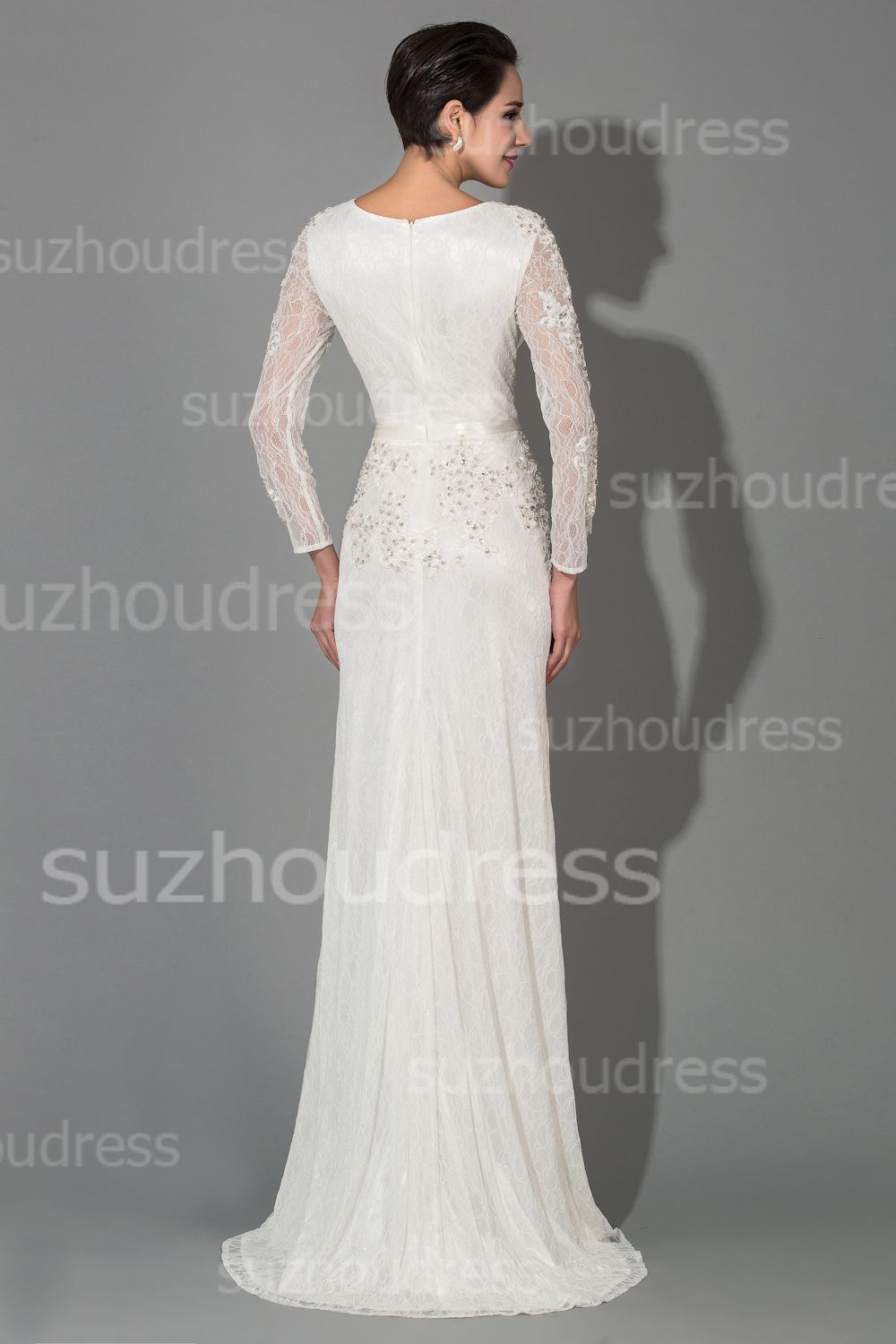 Sexy white lace vneck long sleeve wedding dresses crystal popular