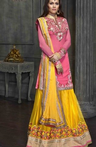 5d0e64d2ff Shop for yellow & pink 3-piece lehenga with long kurti @ Rs 8050 !!  #Weddingcollection #Wedding #OnlineShopping #Lehenga #COD #freedelivery