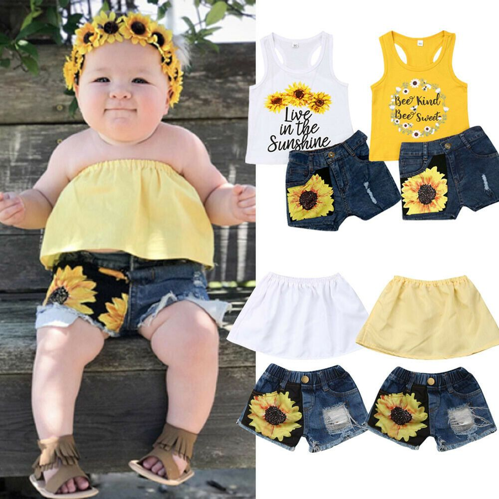 Newborn Baby Girls Summer Sleeveless Lace Tassel Tops Vest Shorts Pants Outfits