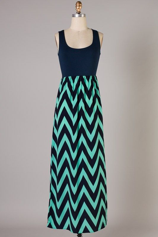 Navy and Mint Chevron Maxi Dress - $42.00 : Southern Whimzy ...