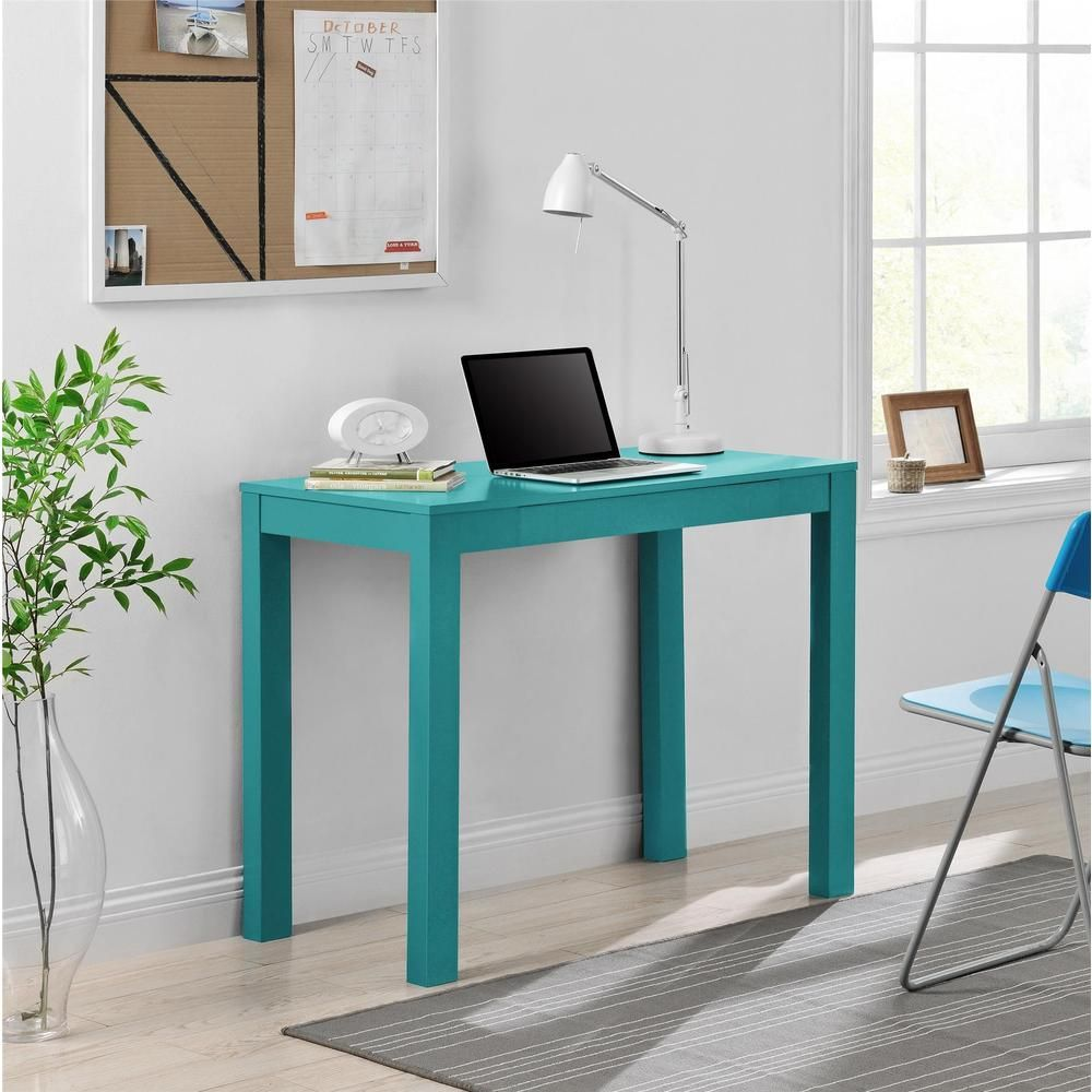 Ameriwood home parsons teal desk with drawer living room design