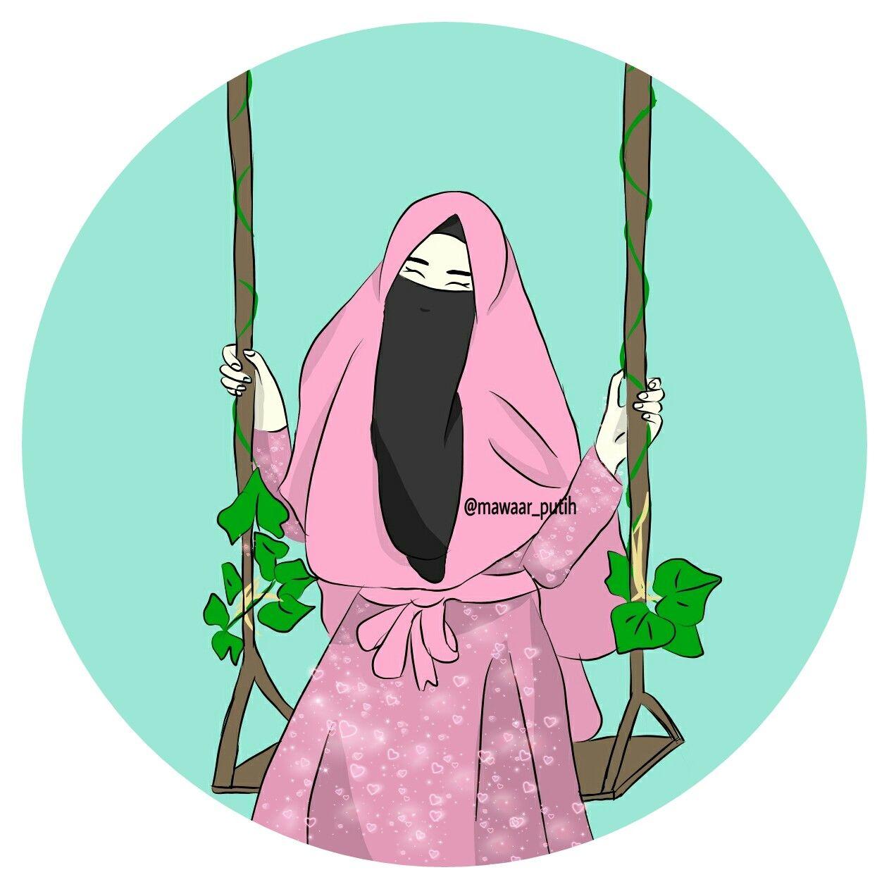 I Love Hijab Hfz Lukisan Wajah Seni Animasi Kartun