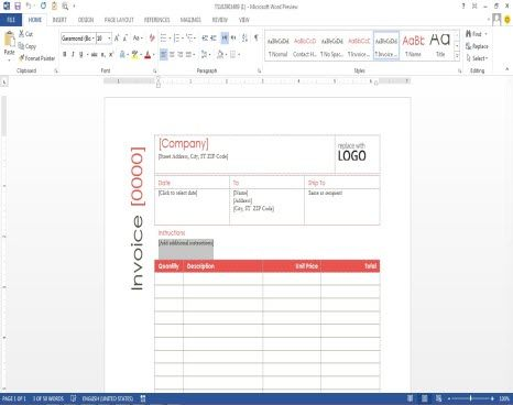 ms office invoice template