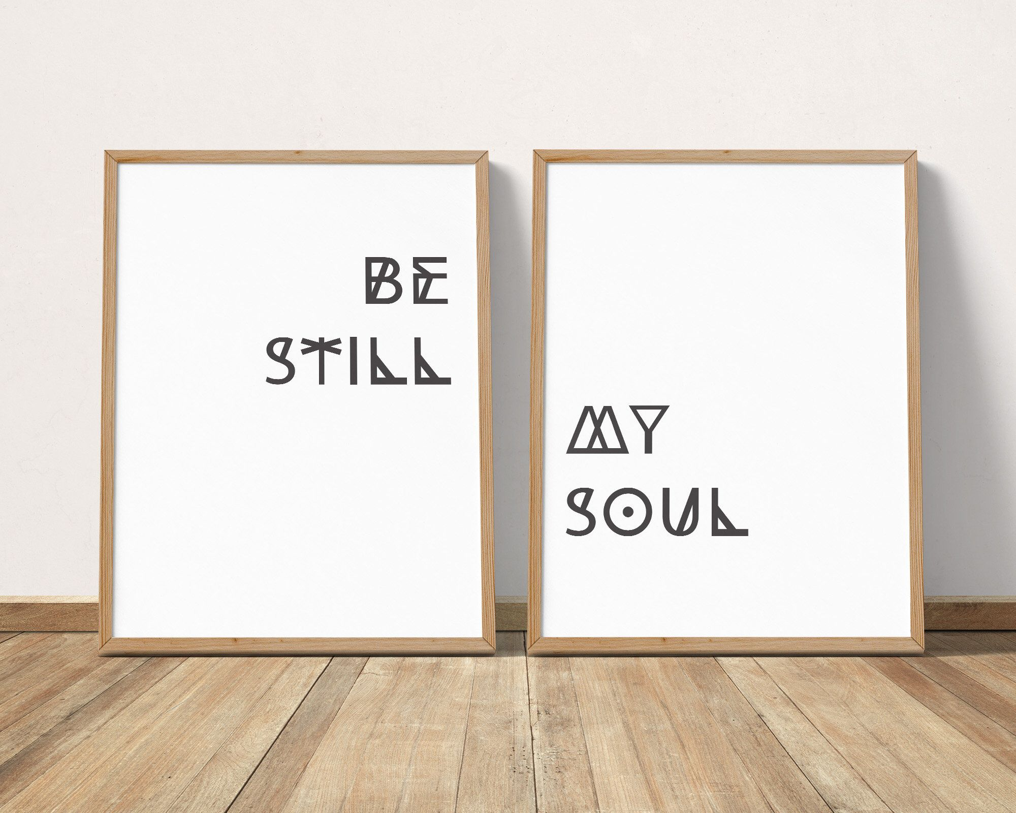Be still my soul printable wall art pair relaxation quote prints