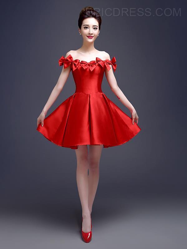 The-Shoulder Bowknot Short Cocktail Dress | Vestidos rojos, Lindo y Rojo