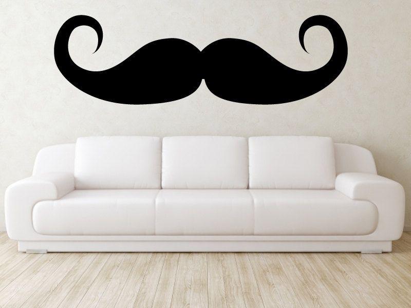 Mustache Wall Decal - Vinyl Mustache Wall Art - 6 Feet Wide. $40.00 ...
