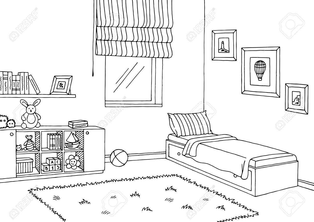 Children Room Graphic Black White Interior Sketch Illustration