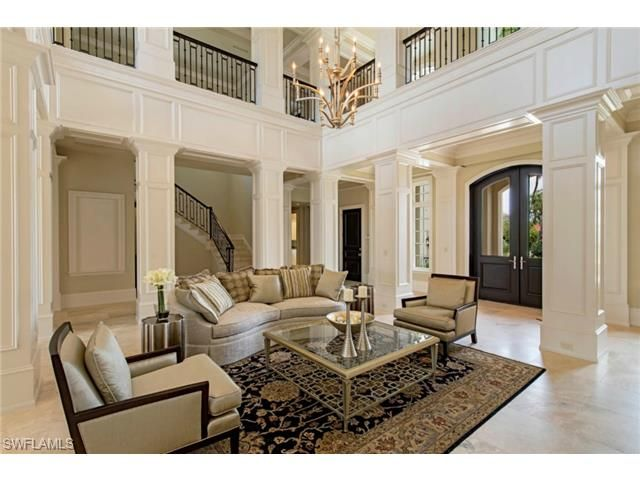 Formal Living Room With Two Story Ceilings And Custom Millwork Gin Lane In Port Royal The Most Exc Waterfront Homes For Sale House Styles Port Royal Naples