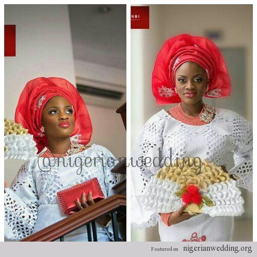 nigerian wedding ceremony white and red asooke colors