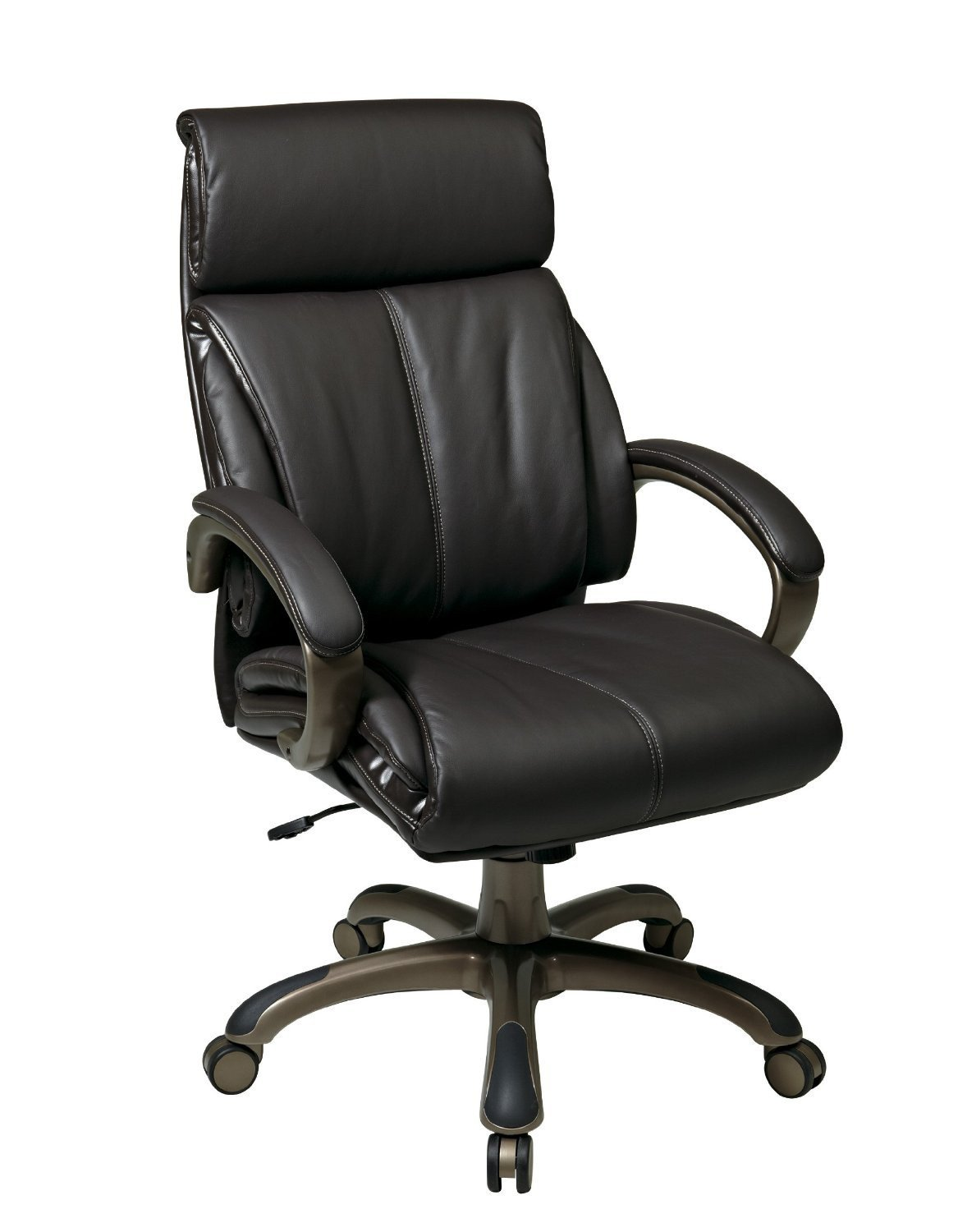 Office Star Work Smart ECH68801 EC1 Executive Espresso Eco Leather Chair With Locking Tilt Control