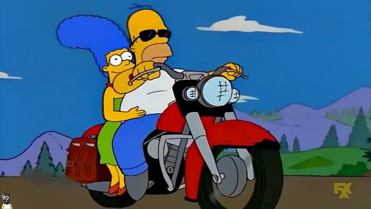 Homer And Marge Motorcycle Dibujos Animados Fondos De Los Simpsons Fondos De Comic