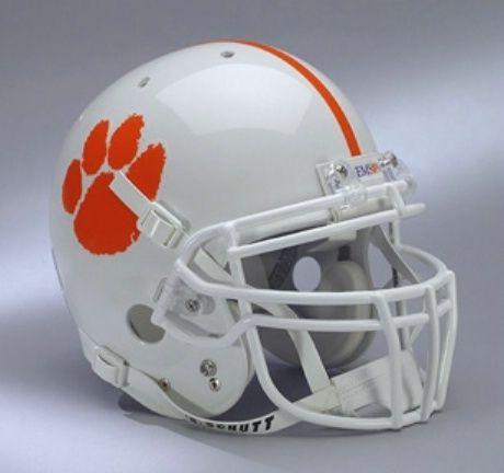 A White Clemson Tiger Football Helmet Go Tigers Football Helmets Clemson Tigers Football Tiger Football