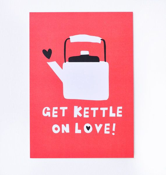 Get Kettle on Love Postcard by amyawalters on Etsy, $1.50