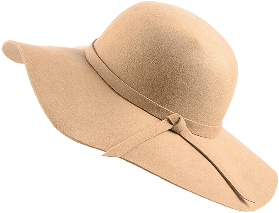 d7b8e57ad3a11 Amazon.com  Urban CoCo Women s Foldable Wide Brim Felt Bowler Fedora Floopy  Wool Hat (Camel)  Clothing
