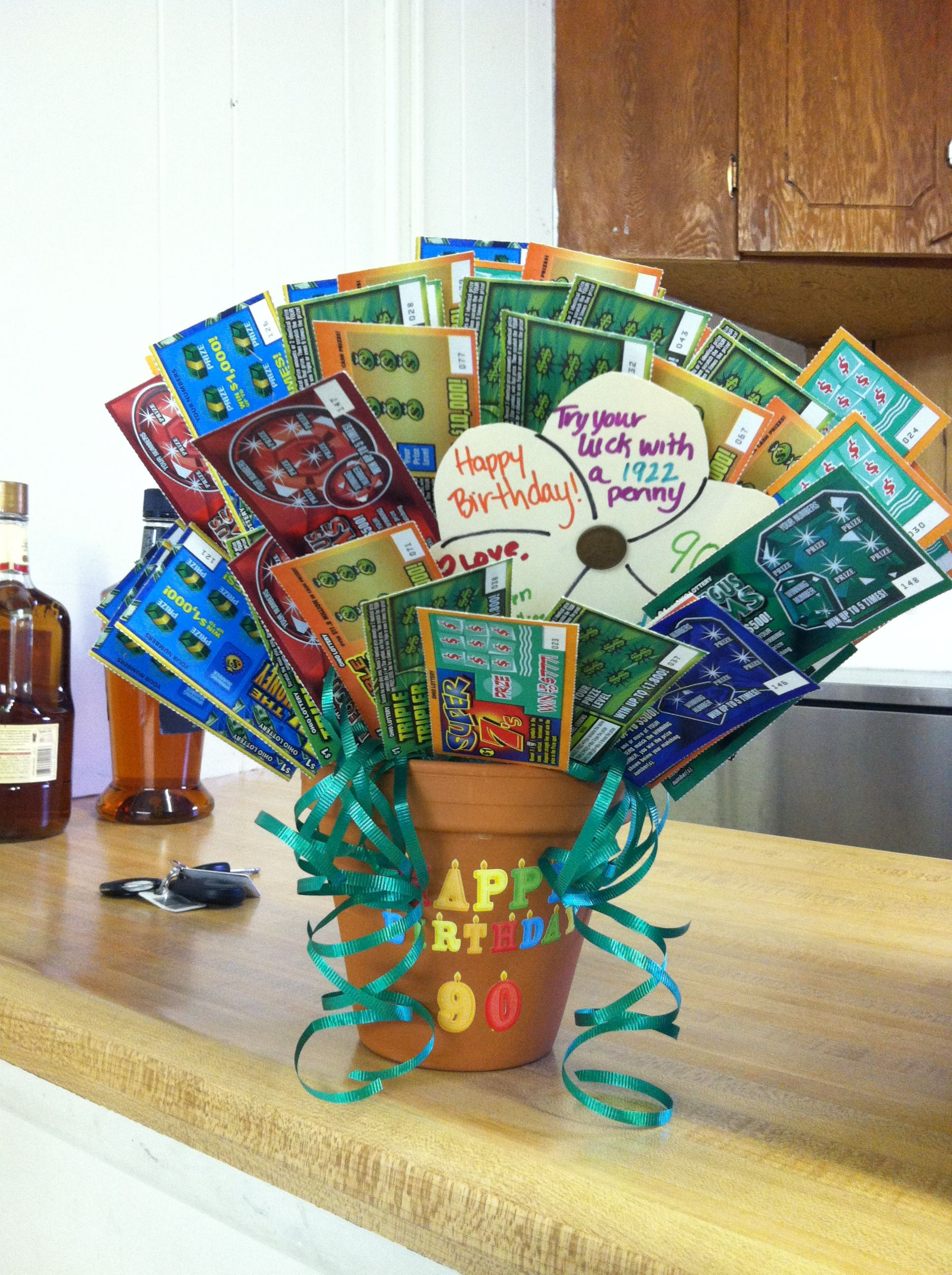 lottery ticket gift basket for grandpa's 90th birthday | products i