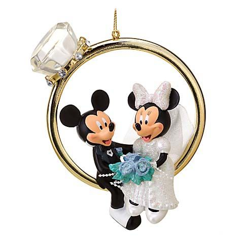 Your WDW Store - Disney Figurine Ornament - Mickey and Minnie Wedding Ring