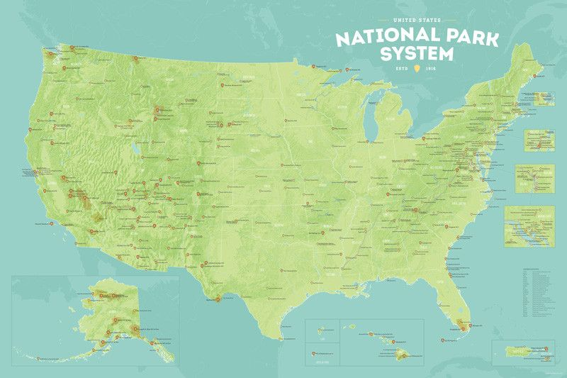 421 National Park System Units Map 24x36 Poster | National ...