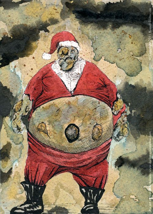 Boomer Claus, art by Russell Dickerson; ink and ink wash