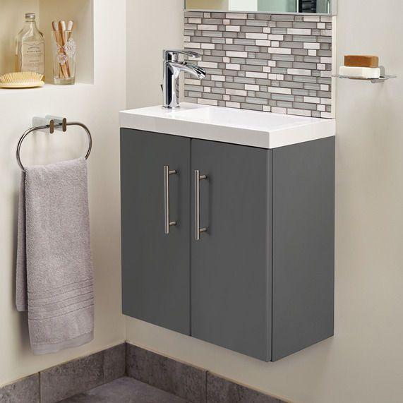 small bathroom cleveland 500 basin and gloss grey wall mounted vanity unit bathstore
