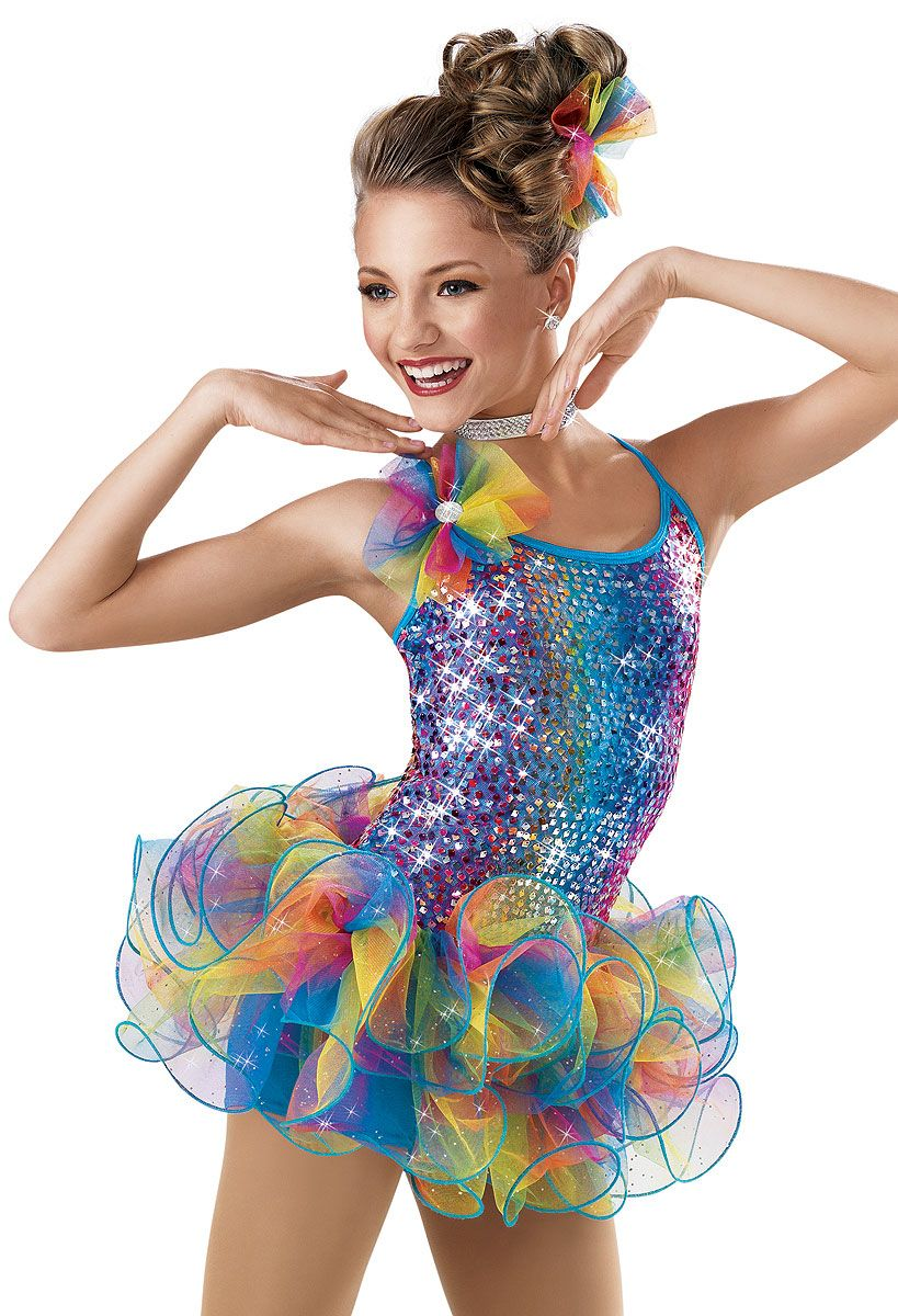 Rainbow Sequin Skirt Biketard -Weissman Costumes