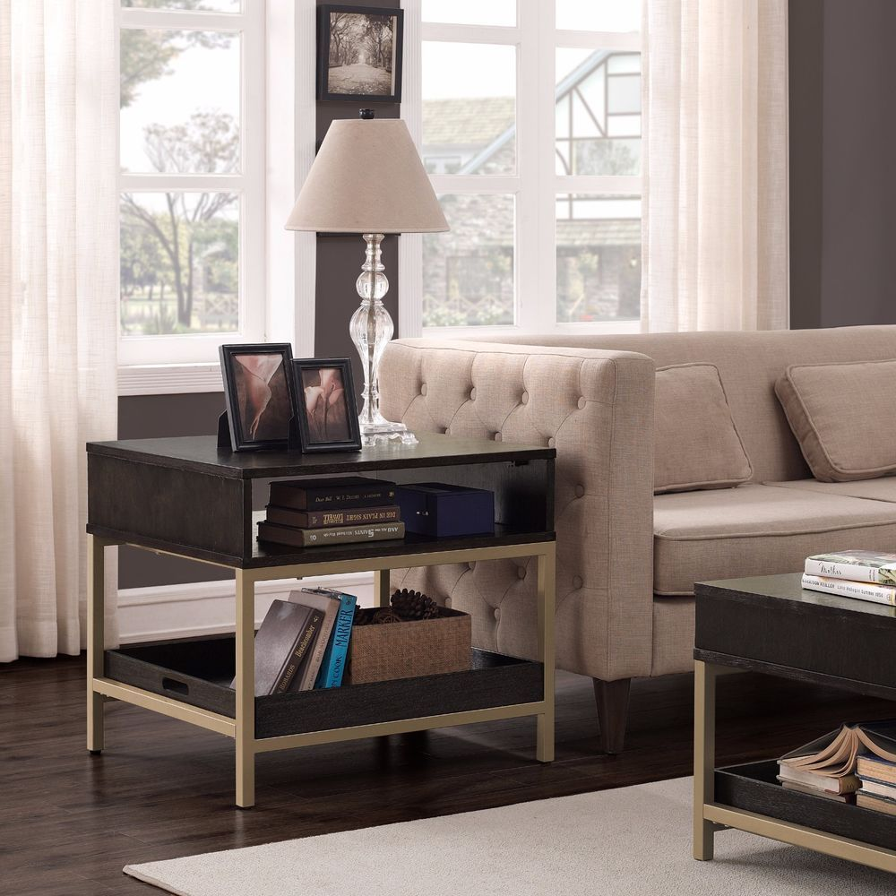 Modern Chic Accent Table Rectangle End Side Table Living Space Decor Metal  Frame #ILoveLiving #