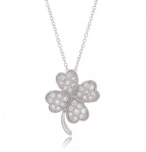 Vintage Sterling Silver Necklace Four Leaf Clover Heart Pendant Lucky Jewelry