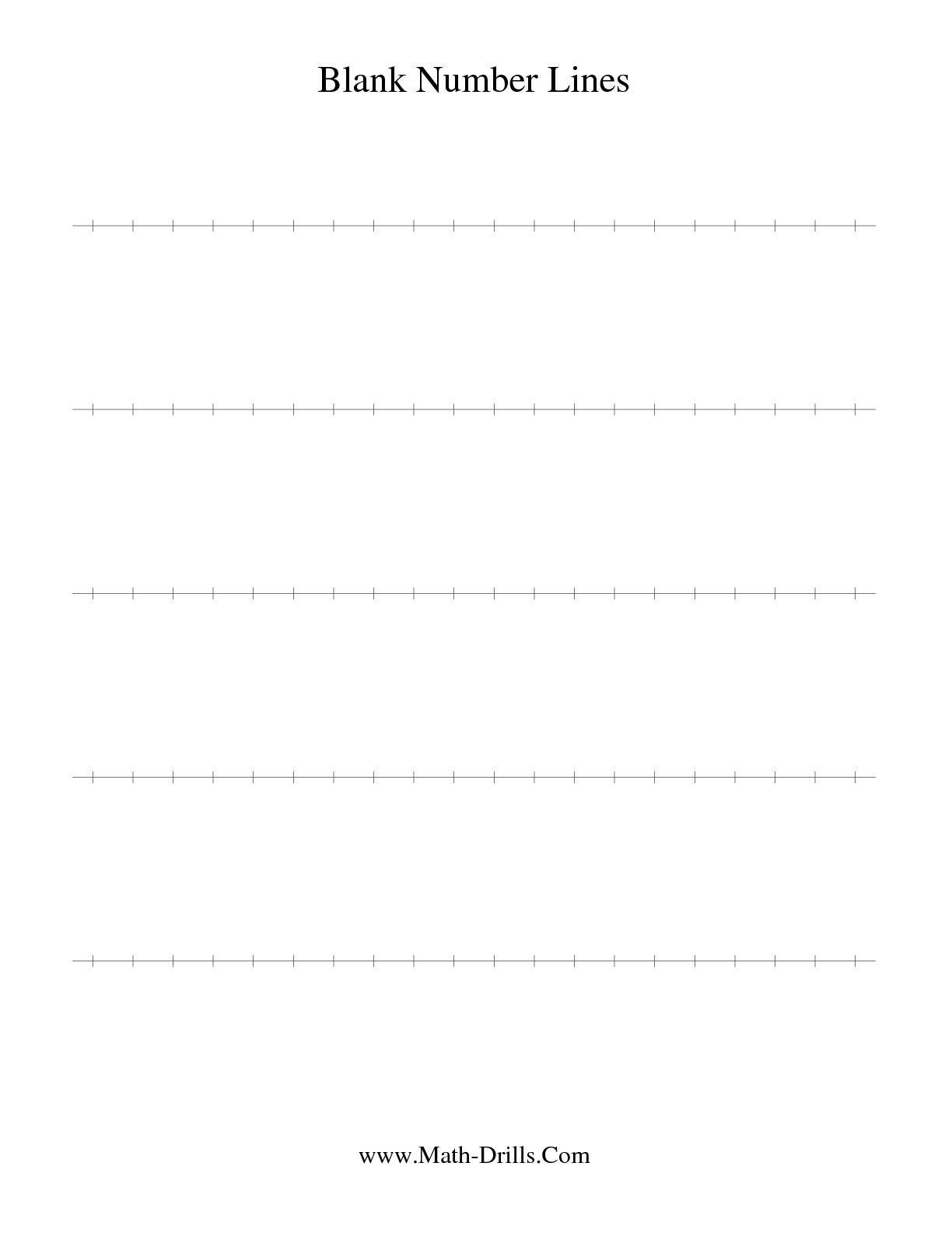 The Blank Number Line Math Worksheet From The Number Sense Worksheet Page At Math Drills