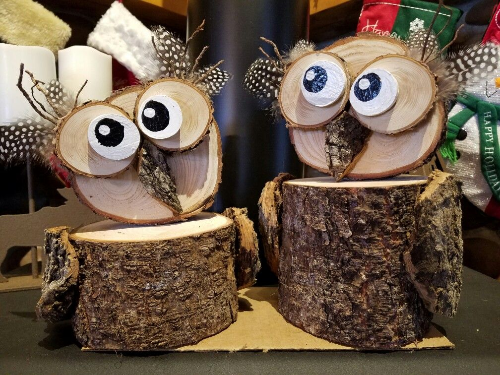 Log Owls Owl Crafts Wooden Owl Nifty Crafts
