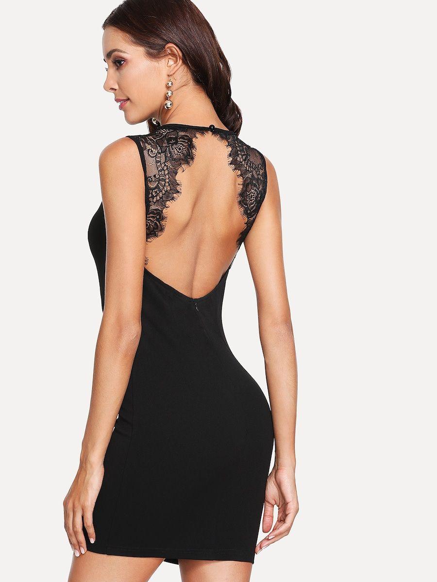 Open Back Scallop Eyelash Lace Trim Dress Shein Sheinside Lace Trim Dress Fashion Dresses [ 1199 x 900 Pixel ]
