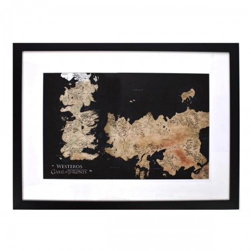 Game of Thrones Westeros & Essos Map Framed Print [22x30] | Map frame