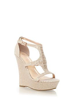 cfdb71ea664e Glitter Perforated T-Strap Platform Wedges