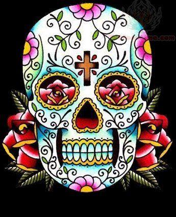 Sugar Skull Color Tattoo Design Jpg 345 425 Sugar Skull Tattoos Day Of The Dead Skull Tattoo Sugar Skull Art