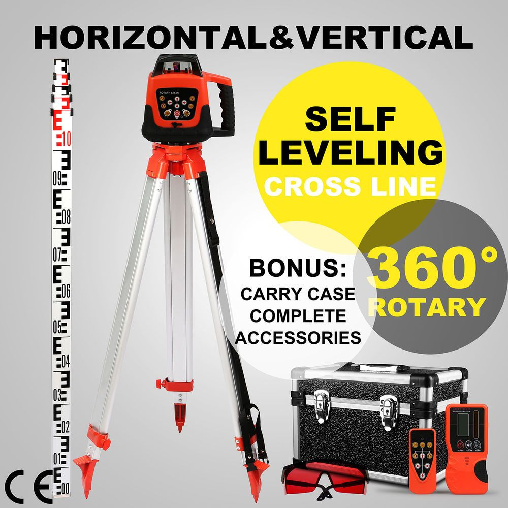 Red Rotary Laser Level 1 65m Tripod 5m Staff Kit Measuring Rotating Outdoor Ebay Link Laser Levels Surveying Equipment Red Beam