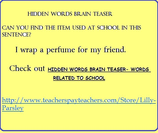 Find The Hidden Words In The Sentences Http Www