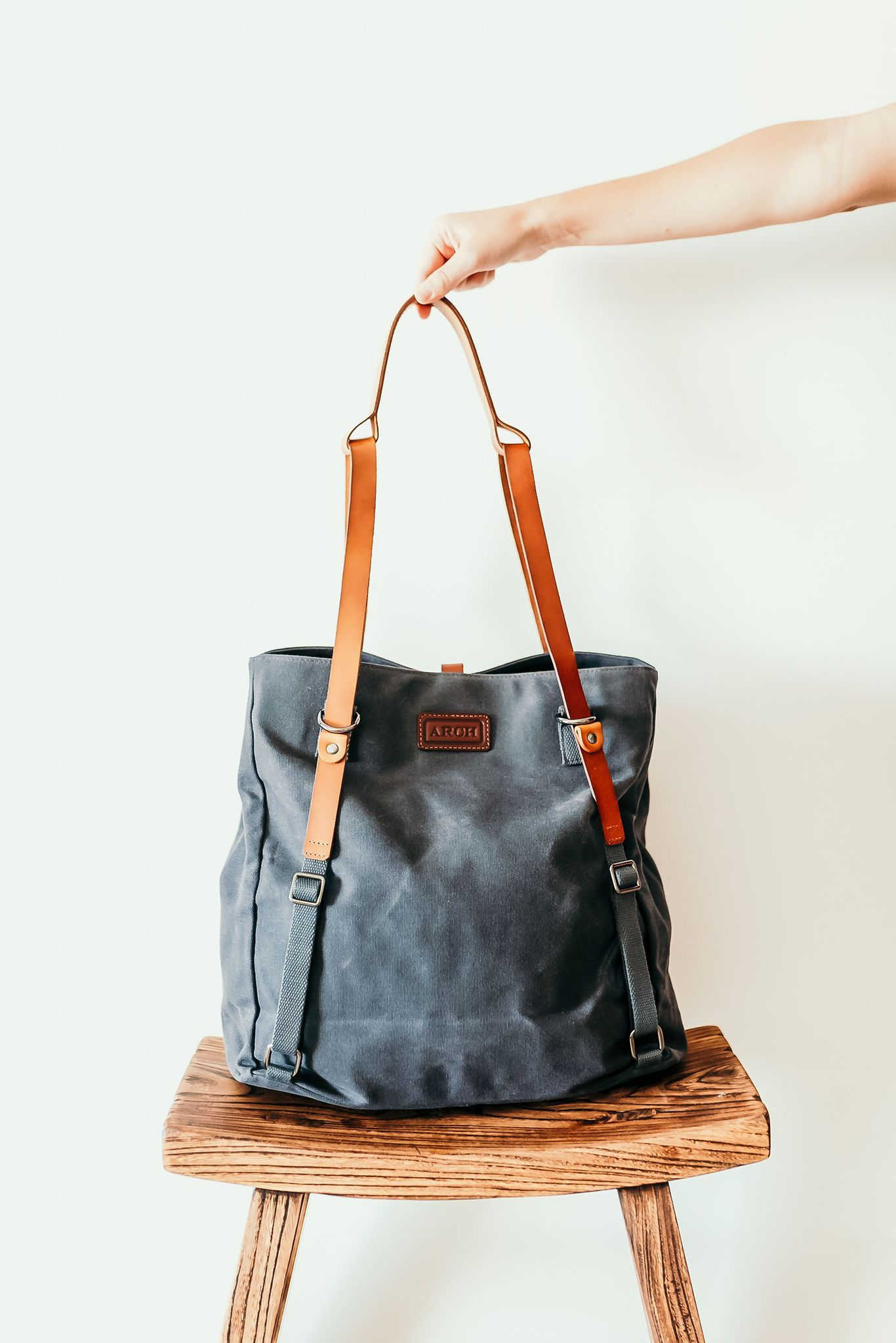 Diaper Bag Waxed Canvas leather Tote Bag convertible Backpack Black