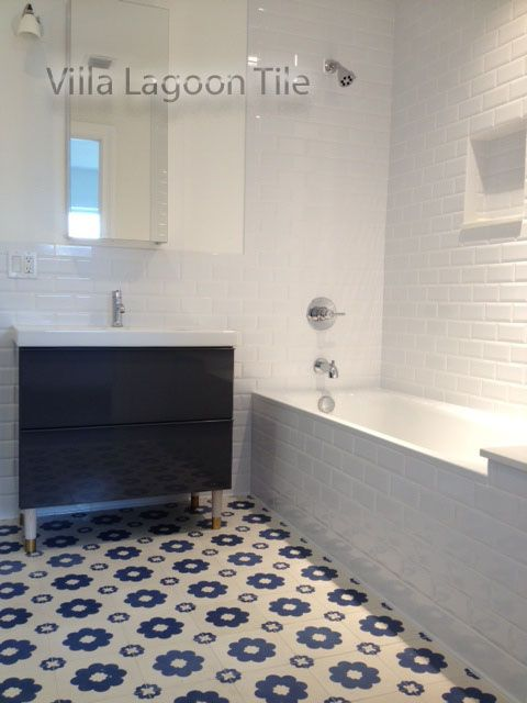 Blue And White Cement Tile