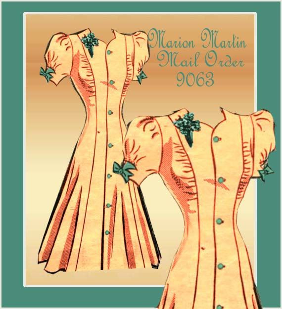 1940s Dress Pattern Marion Martin Mail Order 9063 Vintage WWII Swing Era One Piece Day Dress with Princess Seams via Etsy