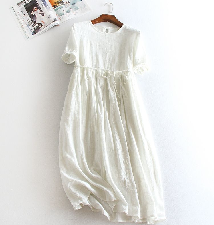 Mori Girl Summer Dress Vintage Solid colot Midi O Neck