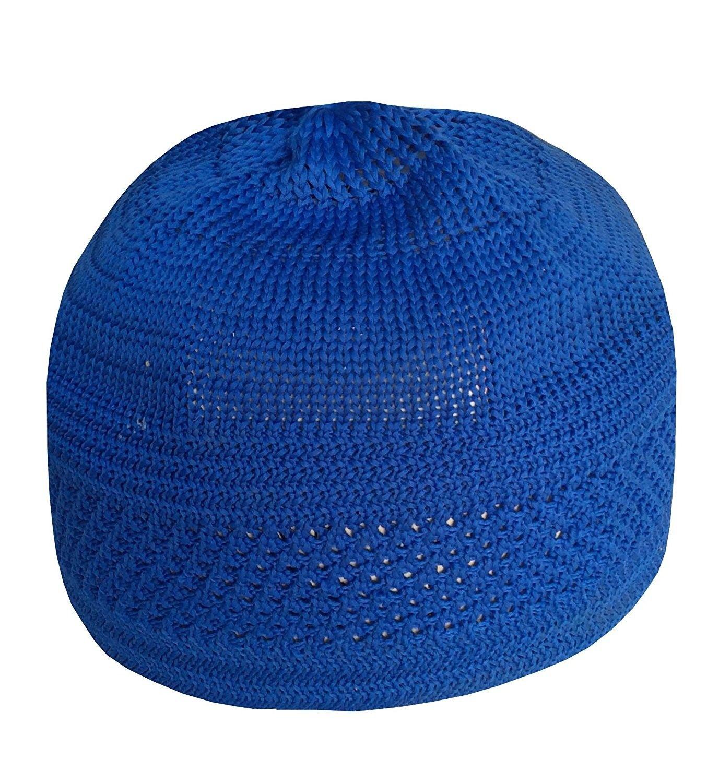 e5814b5b204 Eid Koofi Kufi Cap Mens Muslim Designer White Stretchable Prayer Topi (One  Size- Blue