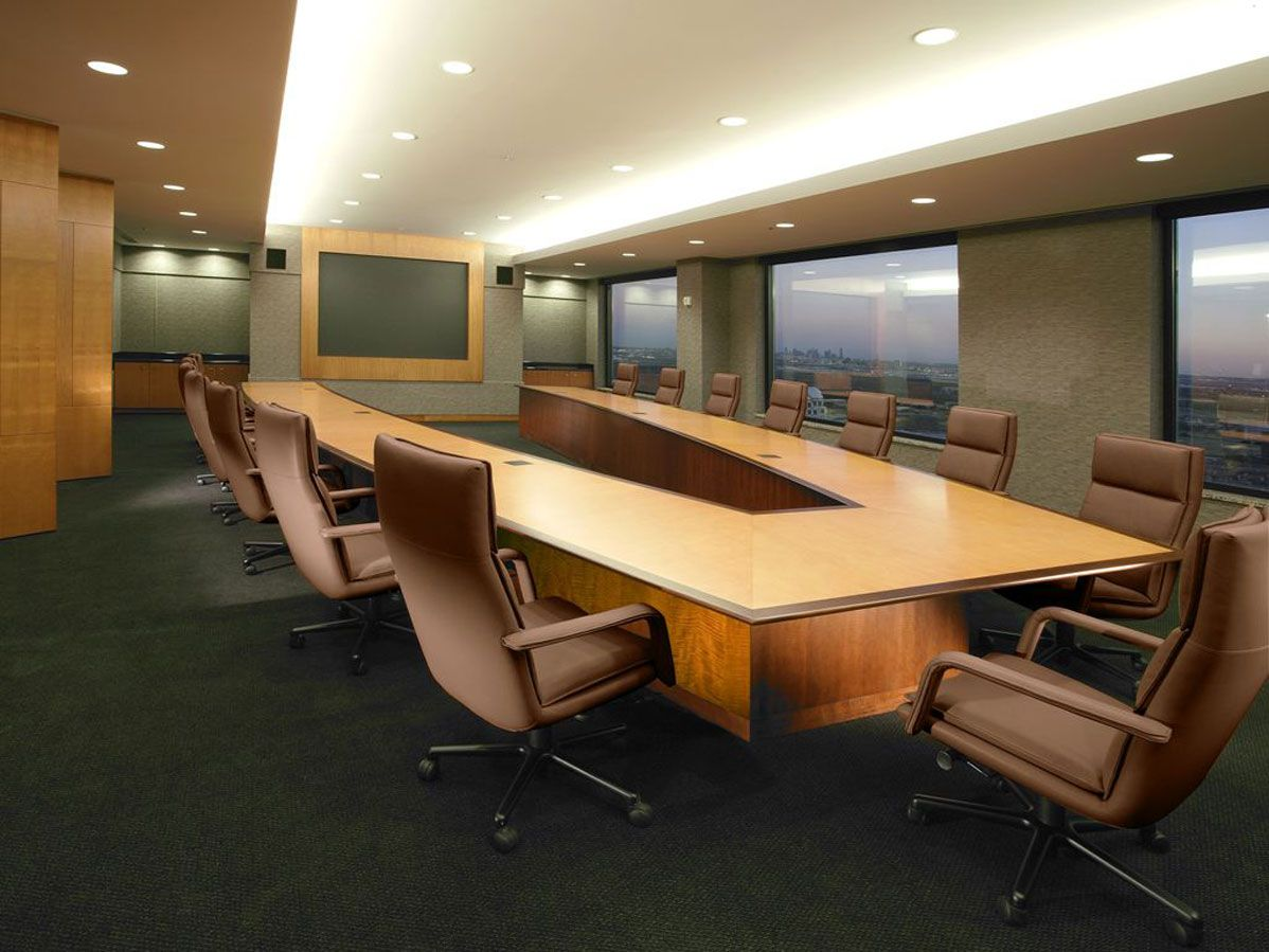 Conference Room Design Ideas modern conference room wall designs ideas V Shaped Conference Table With Cantilevered Top And Contrasting Solid Wood Edge Officeexclusive Conference Room Designs