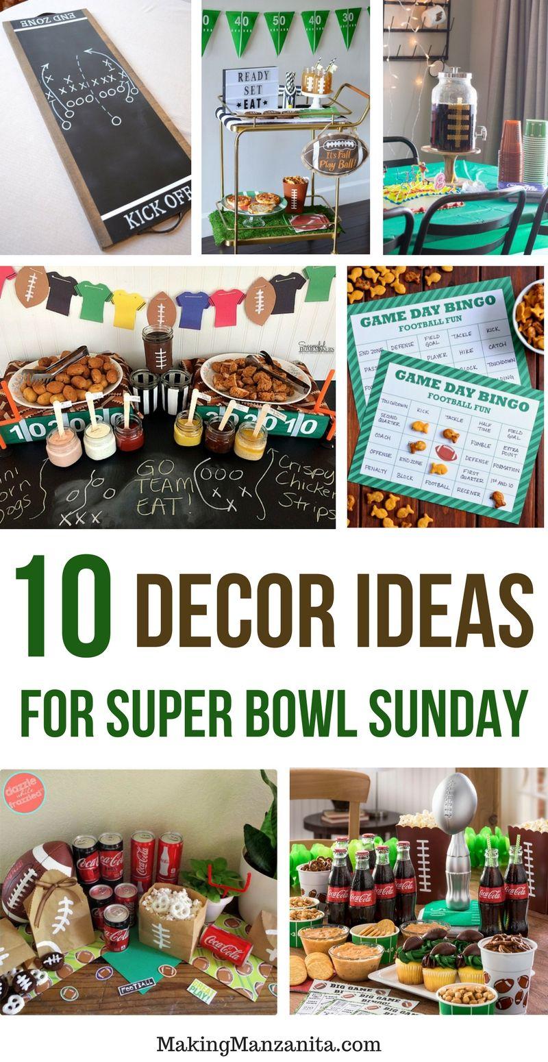 10 Delicious Super Bowl Recipes 10 Creative Super Bowl Decorations Super Bowl Decorations Superbowl Party Superbowl Party Decorations