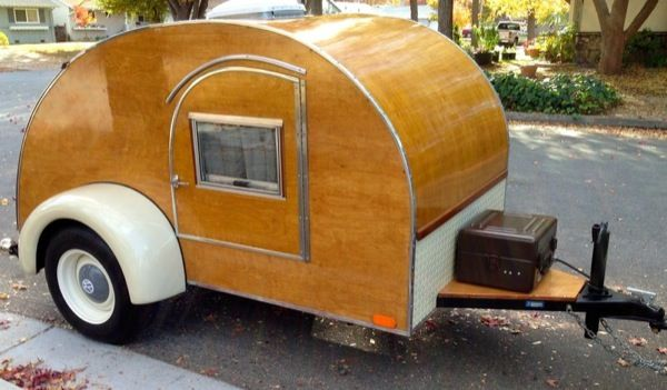 Vintage Vw Truck Towing Classic Hand Built Wooden Teardrop Camper