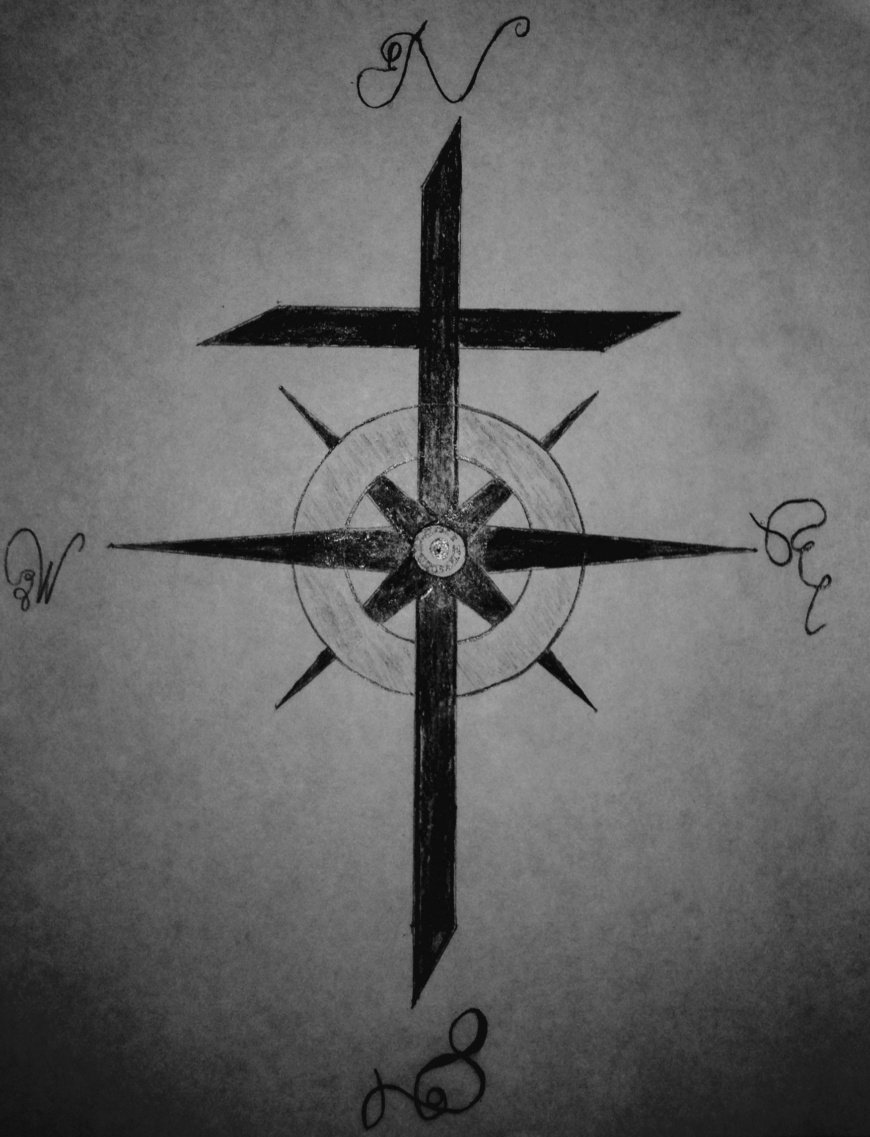 Cross Compass -   21 compass cross tattoo