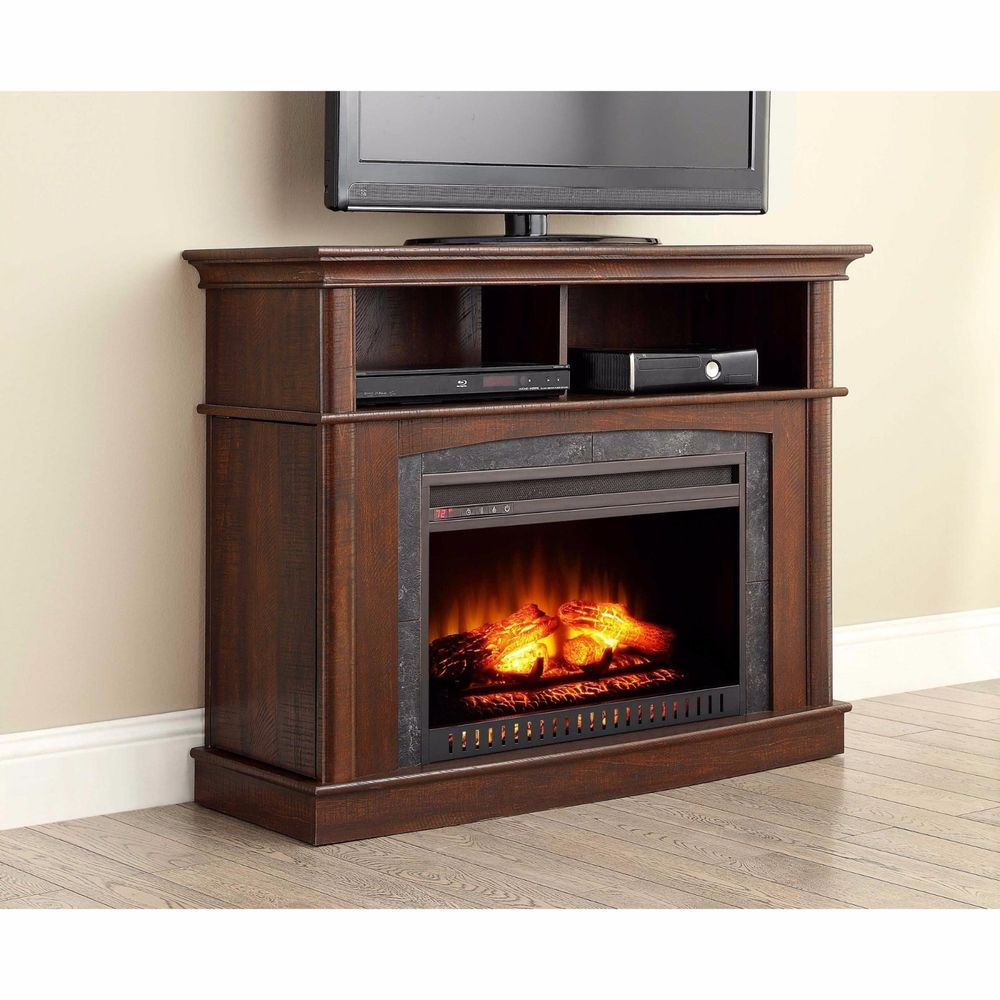 Fireplace Tv Stand Console Electric Heater Media Dual Storage Center 45 Brown Wf Fireplace Console Fireplace Tv Stand Tv Stand And Entertainment Center